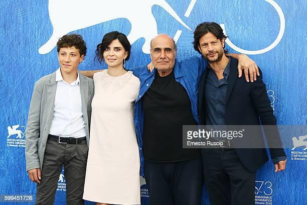 Zaccaria Zanghellini Claudia Potenza Amir Naderi and Andrea Sartoretti attend a photocall for 'Mountain' during the 73rd Venice Film Festival at on...