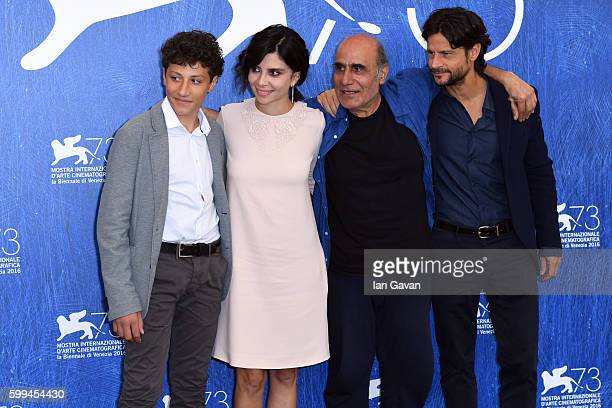 Zaccaria Zanghellini Claudia Potenza director Amir Naderi and Andrea Sartoretti pose during the photocall for 'Mountain' and before Amir Naderi...