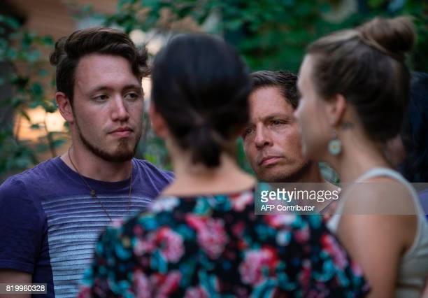 Zach and Don Damond outside their home on July 20 2017 in Minneapolis Minnesota Don Damond's fiance Justine Damond was killed late Saturday by a...