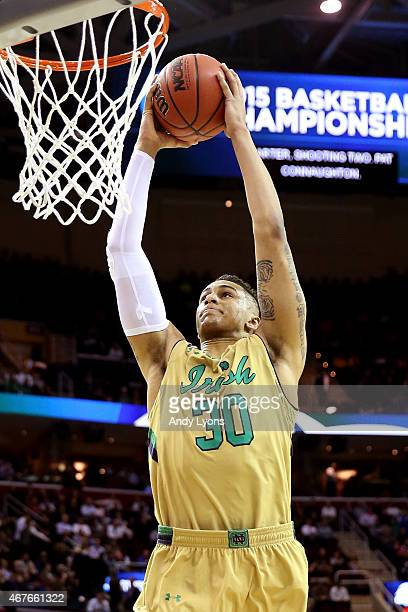 Zach Auguste of the Notre Dame Fighting Irish dunks in the first half against the Wichita State Shockers during the Midwest Regional semifinal of the...