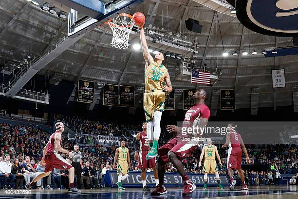 Zach Auguste of the Notre Dame Fighting Irish shoots the ball against the Florida State Seminoles during the first half of the game at Purcell...