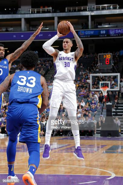 Zach Auguste of the Sacramento Kings shoots the ball against the Golden State Warriors on July 3 2018 at Golden 1 Center in Sacramento California...