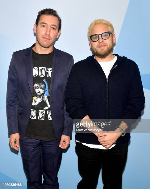Zach Baron and Jonah Hill attend GQ Live The World Of Jonah Hill With The Cast Of 'Mid90s' at NeueHouse Los Angeles on December 07 2018 in Hollywood...
