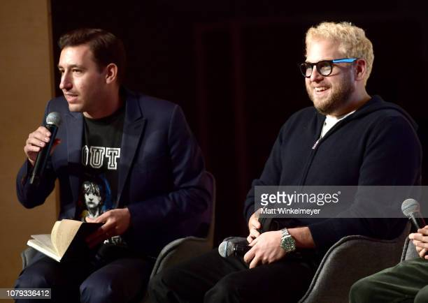 Zach Baron and Jonah Hill speak onstage at GQ Live The World Of Jonah Hill With The Cast Of 'Mid90s' at NeueHouse Los Angeles on December 07 2018 in...