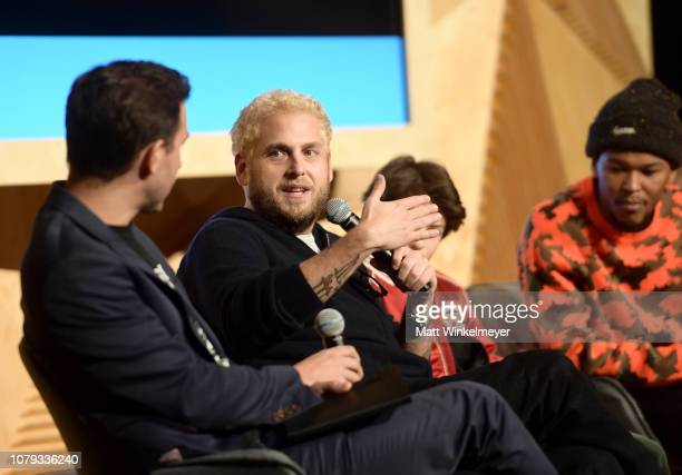 Zach Baron Jonah Hill Sunny Suljic and Nakel Smith speak onstage at GQ Live The World Of Jonah Hill With The Cast Of 'Mid90s' at NeueHouse Los...
