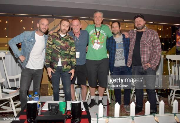 Zach Blair Tim McIlrath KROQ DJs Kevin Ryder Gene 'Bean' Baxter Joe Principe and Brandon Barnes of Rise Against pose in the press room at KROQ Almost...