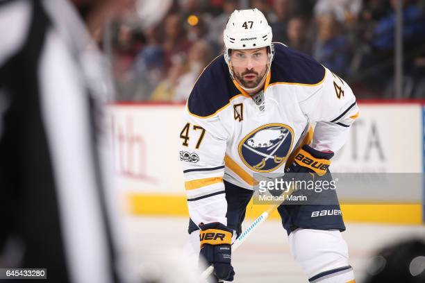Zach Bogosian of the Buffalo Sabres awaits a faceoff against the Colorado Avalanche at the Pepsi Center on February 25 2017 in Denver Colorado The...