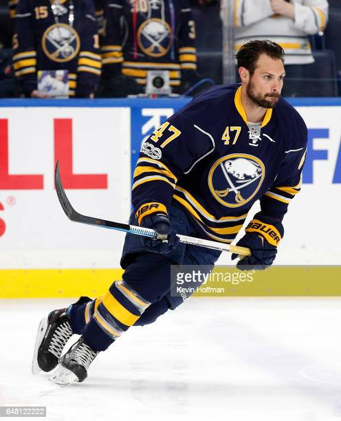 Zach Bogosian of the Buffalo Sabres before the game against the Arizona Coyotes at the KeyBank Center on March 2 2017 in Buffalo New York Sabres beat...