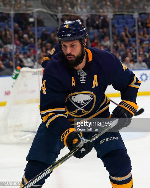 Zach Bogosian of the Buffalo Sabres during the game against the Arizona Coyotes at the KeyBank Center on December 13 2018 in Buffalo New York
