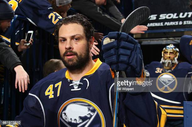 Zach Bogosian of the Buffalo Sabres heads to the ice for an NHL game against the Toronto Maple Leafs at the KeyBank Center on March 25 2017 in...