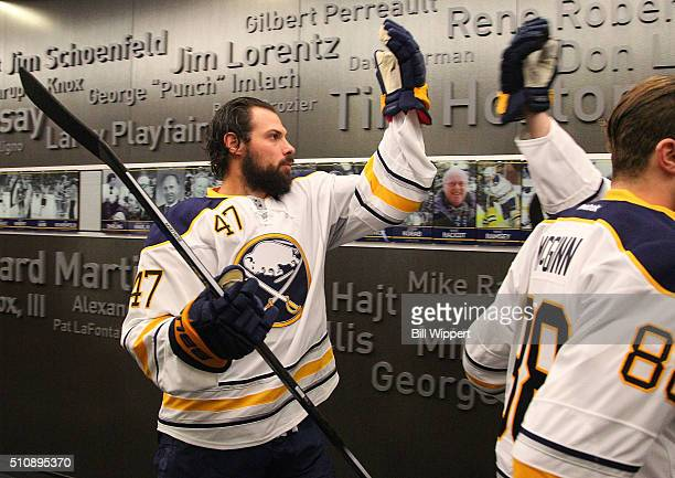 Zach Bogosian of the Buffalo Sabres heads to the ice to play the Montreal Canadiens in an NHL game on February 12 2016 at the First Niagara Center in...