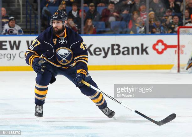 Zach Bogosian of the Buffalo Sabres skates against the Colorado Avalanche during an NHL game at the KeyBank Center on February 16 2017 in Buffalo New...