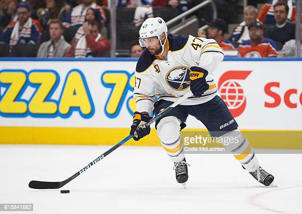 Zach Bogosian of the Buffalo Sabres skates against the Edmonton Oilers on October 16 2016 at Rogers Place in Edmonton Alberta Canada