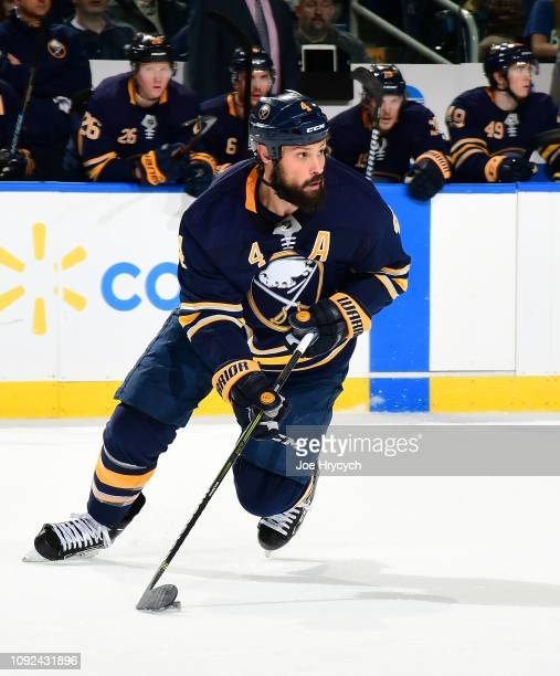 Zach Bogosian of the Buffalo Sabres skates against the Florida Panthers during an NHL game on January 3 2019 at KeyBank Center in Buffalo New York