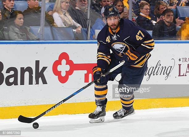 Zach Bogosian of the Buffalo Sabres skates against the Minnesota Wild during an NHL game at the KeyBank Center on October 27 2016 in Buffalo New York
