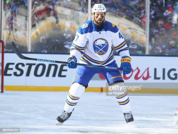 Zach Bogosian of the Buffalo Sabres skates against the New York Rangers during the 2018 Bridgestone NHL Winter Classic at Citi Field on January 1...