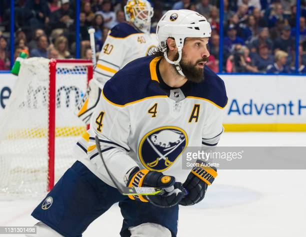Zach Bogosian of the Buffalo Sabres skates against the Tampa Bay Lightning in the first period at Amalie Arena on February 21 2019 in Tampa Florida n