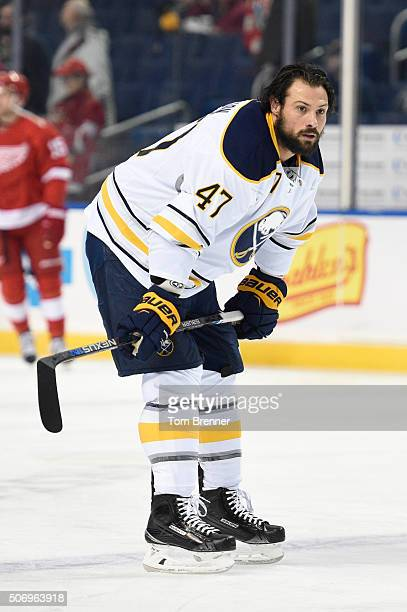 Zach Bogosian of the Buffalo Sabres skates around during warmups before the game against the Detroit Red Wings on January 22 2016 at the First...