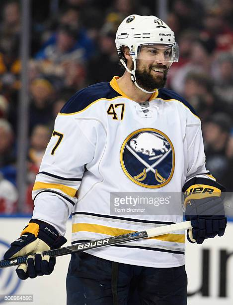 Zach Bogosian of the Buffalo Sabres skates around inbetween whistles during the game against the Detroit Red Wings on January 22 2016 at the First...