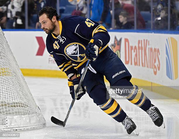 Zach Bogosian of the Buffalo Sabres skates around the ice during warmups before the game against the Chicago Blackhawks at the First Niagara Center...
