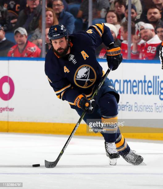 Zach Bogosian of the Buffalo Sabres skates during an NHL game against the Washington Capitals on February 23 2019 at KeyBank Center in Buffalo New...