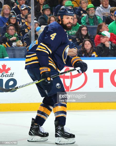 Zach Bogosian of the Buffalo Sabres skates during an NHL game against the St Louis Blues on March 17 2019 at KeyBank Center in Buffalo New York