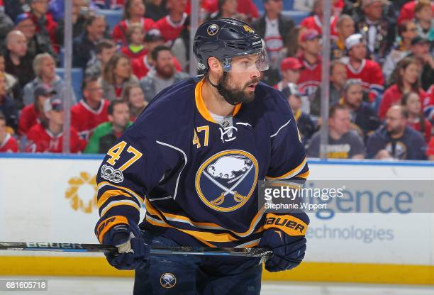 Zach Bogosian of the Buffalo Sabres skates during an NHL game against the Montreal Canadiens at KeyBank Center on April 5 2017 in Buffalo New York