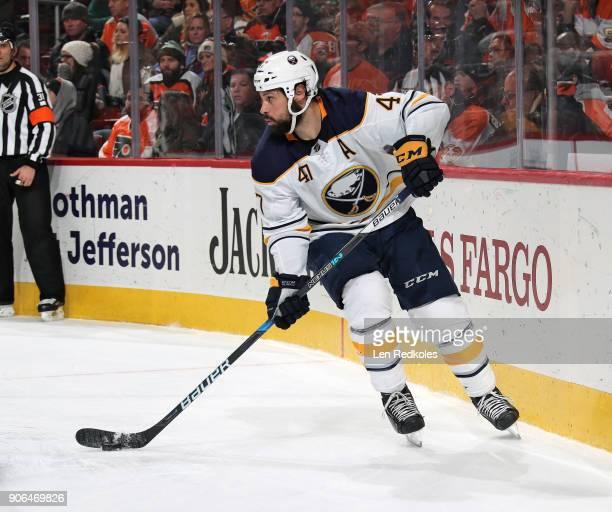 Zach Bogosian of the Buffalo Sabres skates the puck against the Philadelphia Flyers on January 7 2018 at the Wells Fargo Center in Philadelphia...