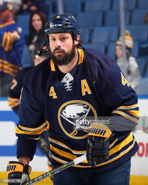 Zach Bogosian of the Buffalo Sabres warms up before an NHL game against the Arizona Coyotes on December 13 2018 at KeyBank Center in Buffalo New York