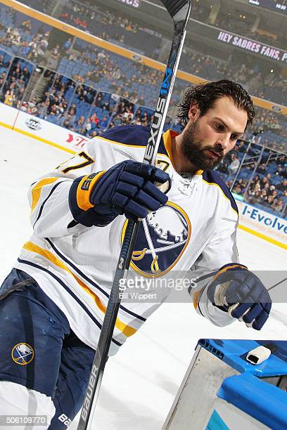 Zach Bogosian of the Buffalo Sabres warms up before playing the Washington Capitals in an NHL game on January 16 2016 at the First Niagara Center in...
