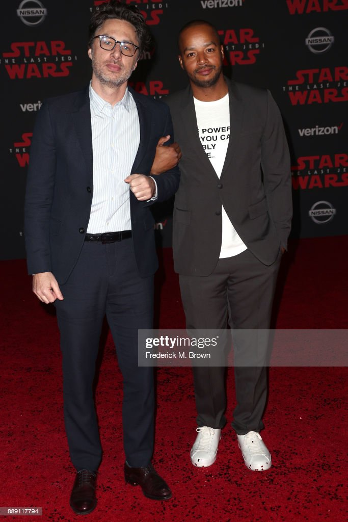 Zach Braff (L) and Donald Faison attend the premiere of Disney Pictures and Lucasfilm's 'Star Wars: The Last Jedi' at The Shrine Auditorium on December 9, 2017 in Los Angeles, California.