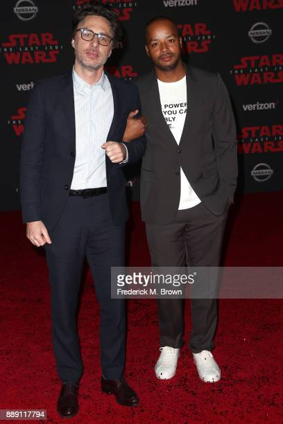 Zach Braff and Donald Faison attend the premiere of Disney Pictures and Lucasfilm's 'Star Wars The Last Jedi' at The Shrine Auditorium on December 9...