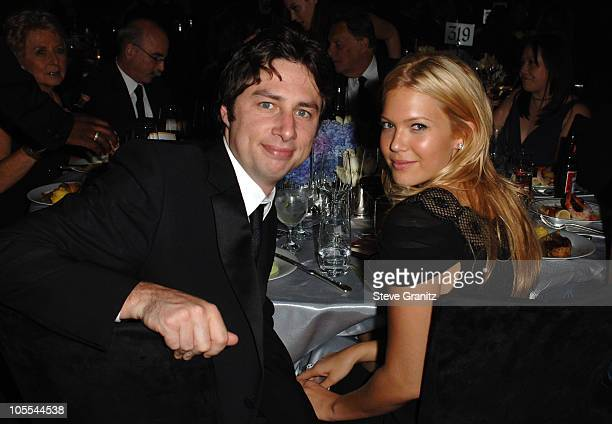 Zach Braff and Mandy Moore during The 57th Annual Emmy Awards - Governors Ball at Shrine Auditorium in Los Angeles, California, United States.