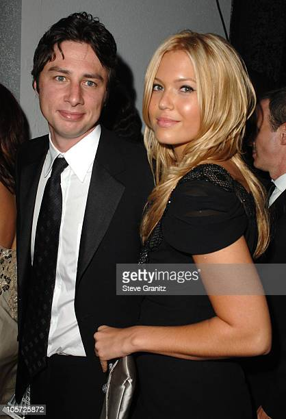 Zach Braff and Mandy Moore during The 57th Annual Emmy Awards Governors Ball at Shrine Auditorium in Los Angeles California United States