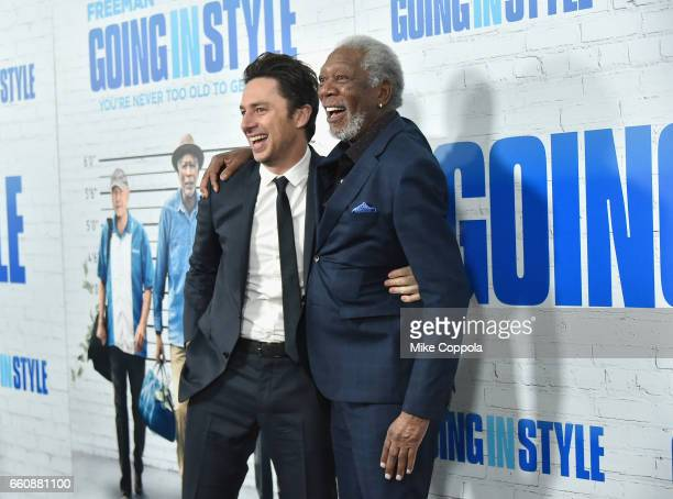 Zach Braff and Morgan Freeman attend the 'Going In Style' New York Premiere at SVA Theatre on March 30 2017 in New York City