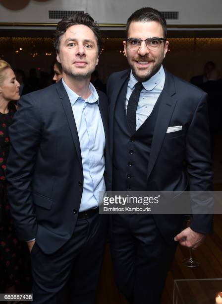 Zach Braff and Zachary Quinto attend the 2017 CAA Upfronts Celebration Party at La Sirena on May 15 2017 in New York City