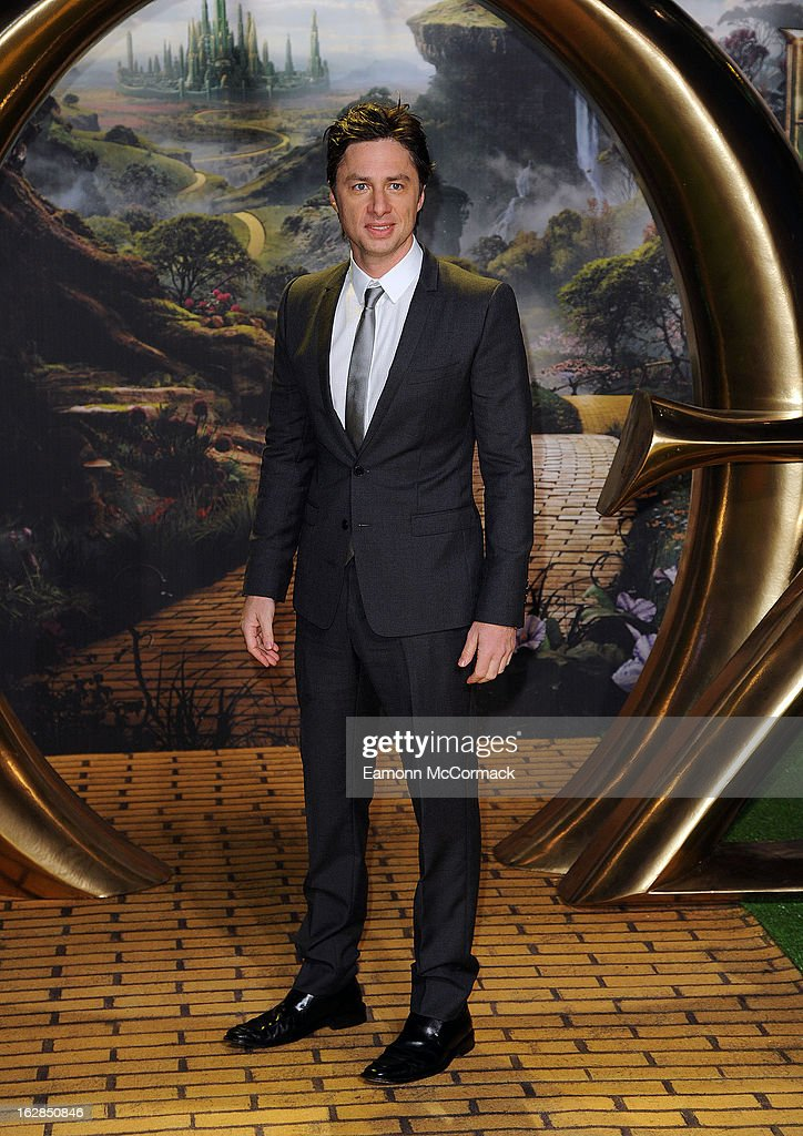 Zach Braff attends the European Premiere of 'Oz: The Great and Powerful' at Empire Leicester Square on February 28, 2013 in London, England.