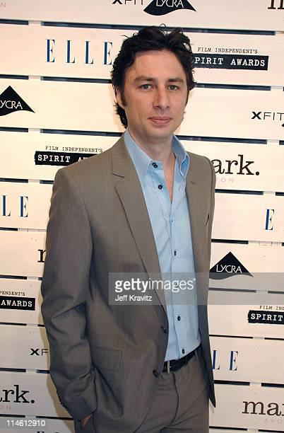 Zach Braff during 2007 Film Independent's Spirit Awards Backstage at Santa Monica Pier in Santa Monica California United States