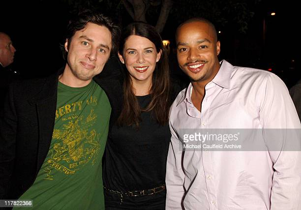 Zach Braff, Lauren Graham and Donald Faison during Entertainment Weekly Magazine 4th Annual Pre-Emmy Party - Red Carpet at Republic in Los Angeles,...