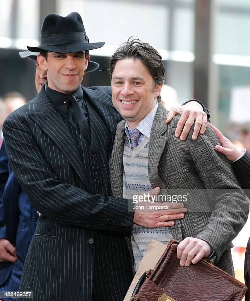 """Zach Braff, Nick Cordero and the cast of """"Bullets Over Broadway"""" performo live on NBC's """"Today"""" at TODAY Plaza on May 6, 2014 in New York City."""