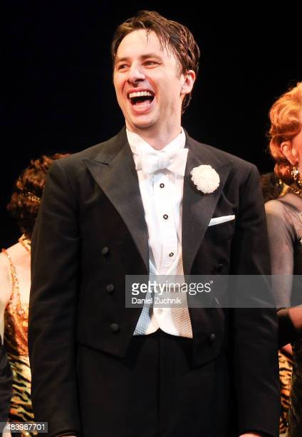 Zach Braff performs during the 'Bullets Over Broadway' opening night curtain call at St James Theatre on April 10 2014 in New York City