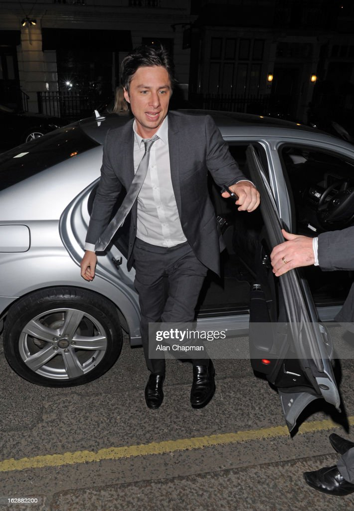 Zach Braff sighting at Claridges on February 28, 2013 in London, England.