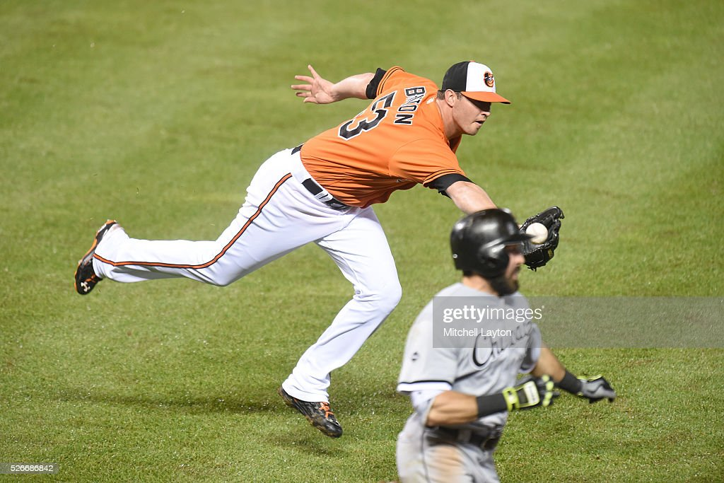 Zach Britton #53 of the Baltimore Orioles can not get to a ball hit by Adam Eaton #1 of the Chicago White Sox in the ninth inning during a baseball game at Oriole Park at Camden yards on April 30, 2016 in Baltimore, Maryland.