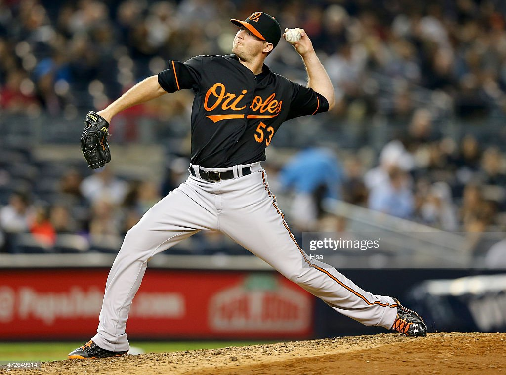 Zach Britton #53 of the Baltimore Orioles delivers a pitch in the eighth inning against the New York Yankees on May 8, 2015 at Yankee Stadium in the Bronx borough of New York City.