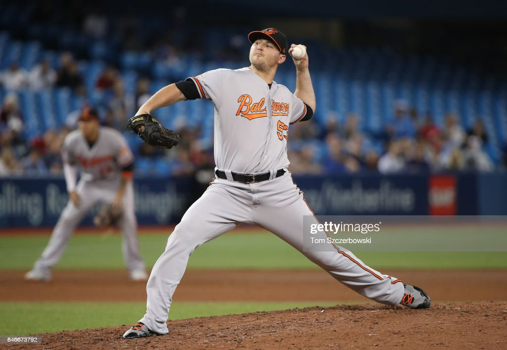 Zach Britton #53 of the Baltimore Orioles delivers a pitch in the ninth inning during MLB game action against the Toronto Blue Jays at Rogers Centre on September 13, 2017 in Toronto, Canada.