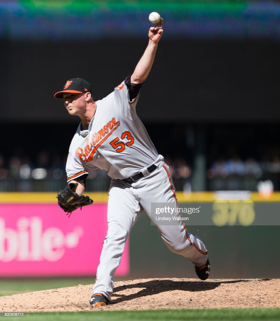 Zach Britton #53 of the Baltimore Orioles pitches in the eighth inning at Safeco Field on August 16, 2017 in Seattle, Washington.