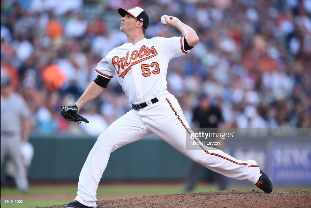 Zach Britton #53 of the Baltimore Orioles pitches in the ninth inning during a game one of a doubleheader baseball game against the New York Yankees at Oriole Park at Camden Yards on July 9, 2018 in Baltimore, Maryland.