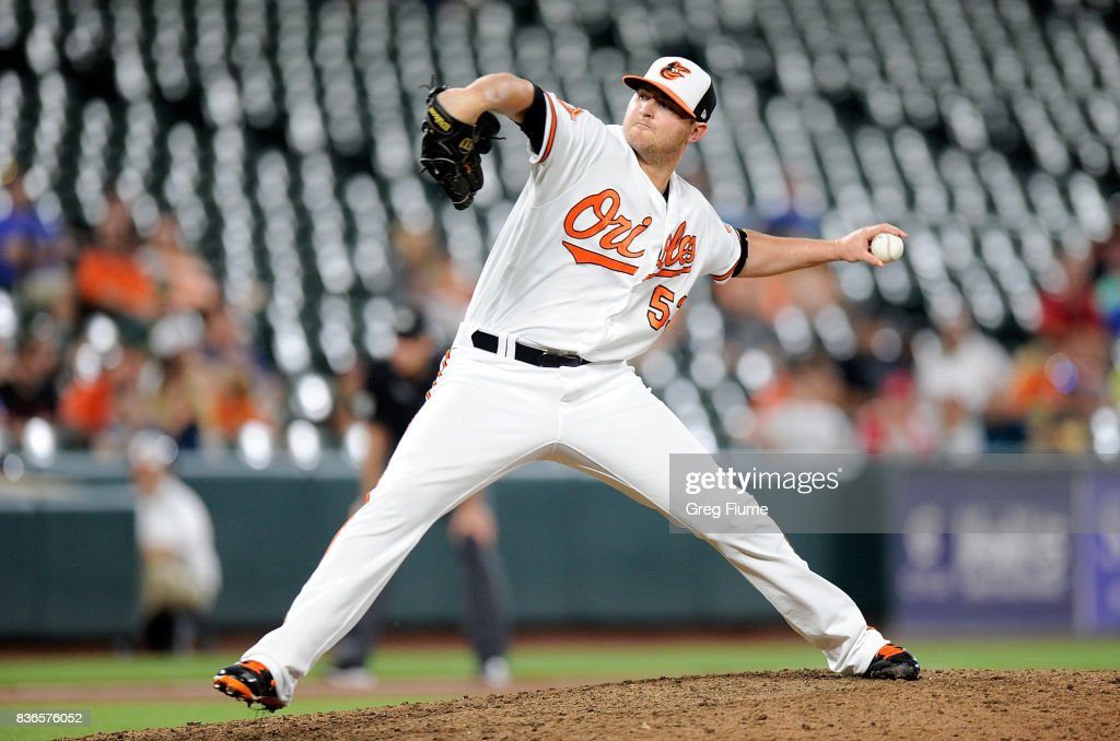 Zach Britton #53 of the Baltimore Orioles pitches in the ninth inning against the Oakland Athletics at Oriole Park at Camden Yards on August 21, 2017 in Baltimore, Maryland.