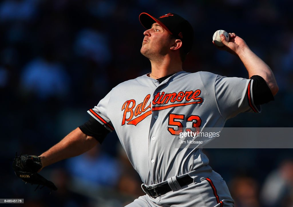 Zach Britton #53 of the Baltimore Orioles pitches in the ninth inning against the New York Yankees at Yankee Stadium on September 17, 2017 in the Bronx borough of New York City.