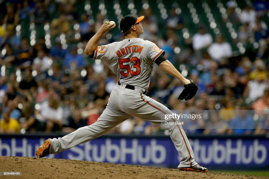 Zach Britton #53 of the Baltimore Orioles pitches in the seventh inning against the Milwaukee Brewers at Miller Park on July 5, 2017 in Milwaukee, Wisconsin.